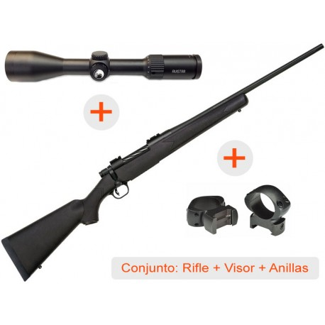 Rifle de cerrojo MOSSBERG Patriot Synthetic (en calibres disponibles) + Visor AVISTAR 2,5-10x50 R.I. + Juego de Anillas WEAVER G